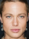 The faces of Brad Pitt and Angelina Jolie combined together -
