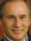 The faces of Vladimir Putin and George Bush combined together -