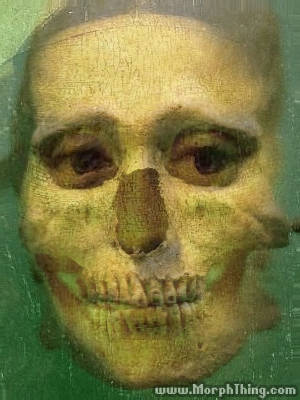 The faces of Mona Lisa and Skull combined together -